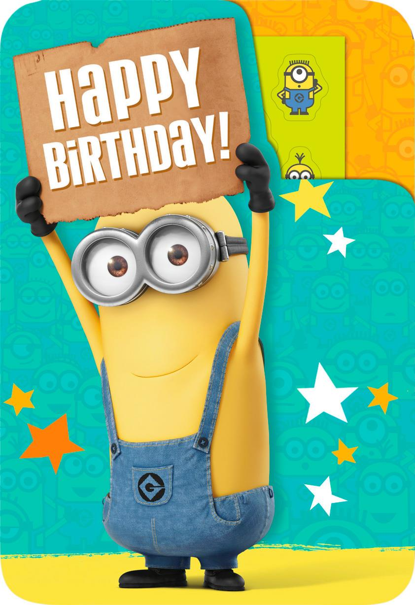 Despicable Me One In A Minion Birthday Card With Stickers Greeting